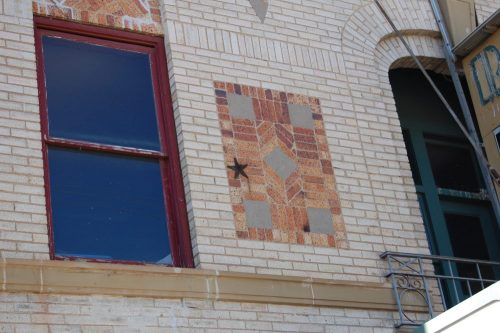 Rialto Theater's stone work on building front