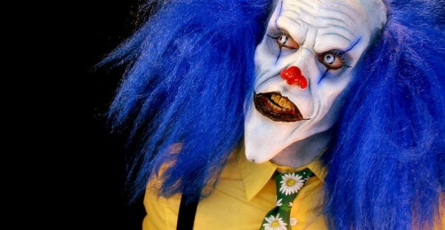 Evil Clown at the Haunted House