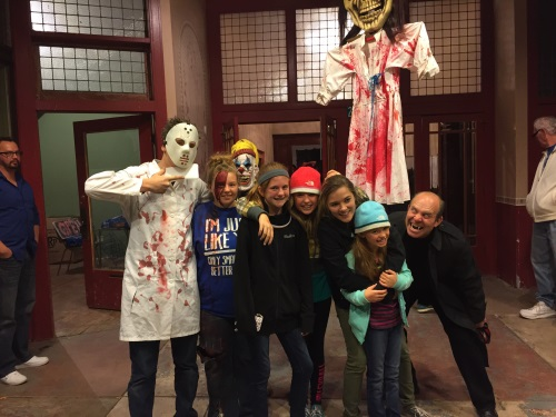 family enjoying the haunted house