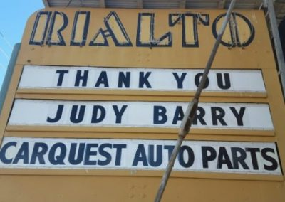 Marquee:Thank You Judy Barry Carquest AUto Parts