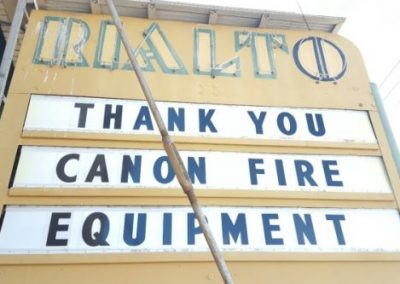 Marquee:Thank you Canon Fire Equipment