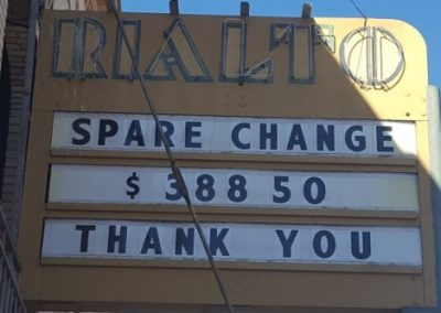 Marquee:Spare Change $388.50 Thank You