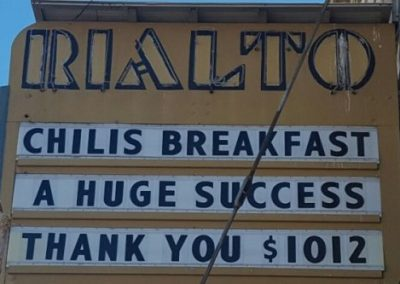 Marquee:Chilis Breakfast A huge Success Thank You $1012