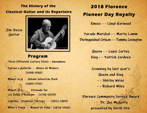 91st Annual Florence Pioneer Days, Jim Bosse Concert