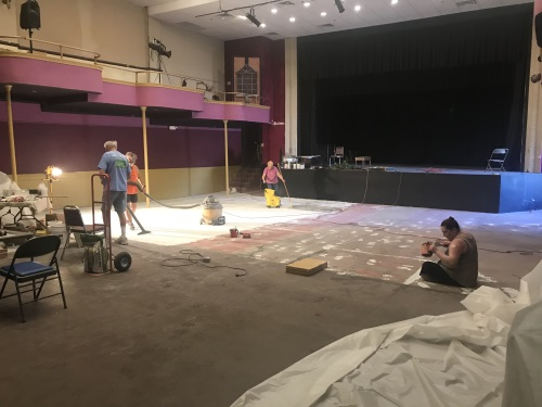 Floor refinishing at the Rialto Theater in Florence