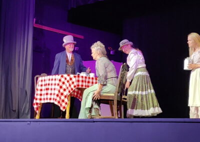 """""""Dick"""" Tater, Emma Tater, and Belle Pepper, played by Ray Linebaugh, Julie Griffo, and Haley Atkinson"""