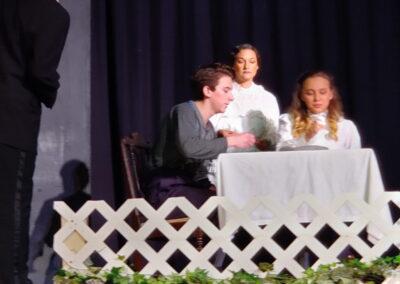 Lydia Leggett as Mrs Gibbs, Trevanni Guerra as George Gibbs, Briana Froese as Rebecca Gibbs